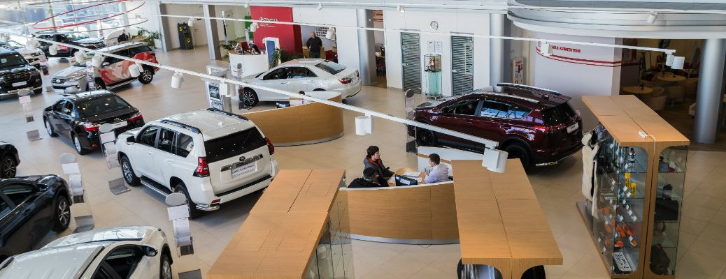 Overhead view of a showroom