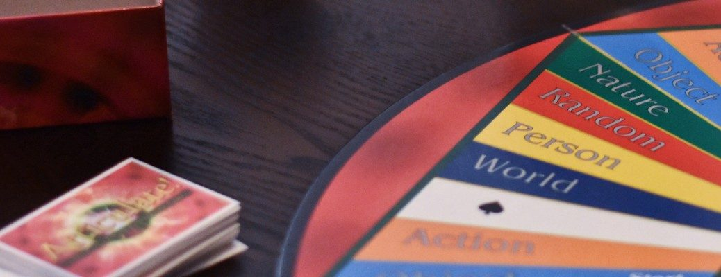 Tight shot of a board game and cards