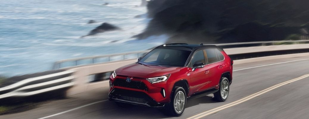 2021 Toyota RAV4 Prime driving exterior view front