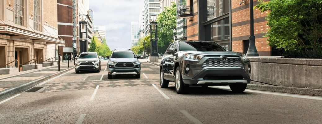 2021 Toyota RAV4 driving with others on road