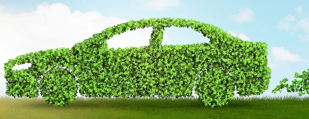 An animated image of a car made out of leaves illustrating an environment-friendly concept