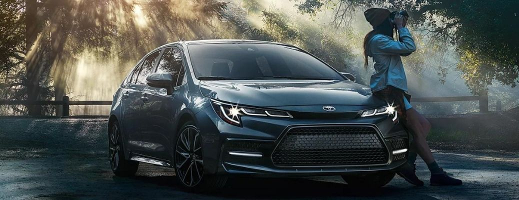 2022 Toyota Corolla with LED daytime running lights on