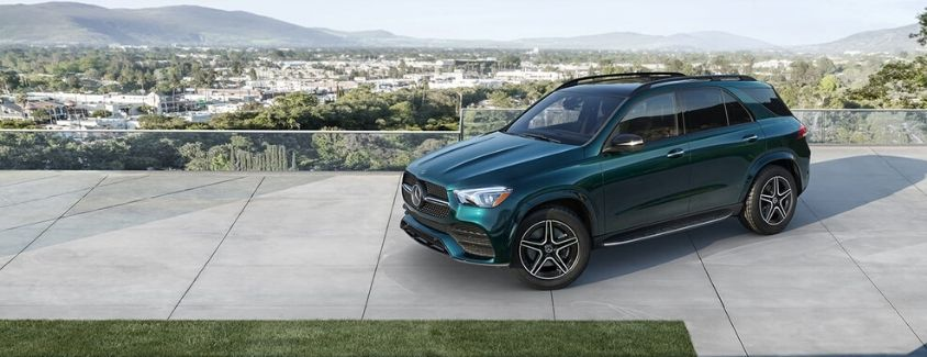 Exterior view of a teal 2020 Mercedes-Benz GLE 350