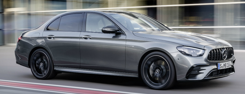 Passenger's side front angle view of grey 2021 Mercedes-AMG® E 53
