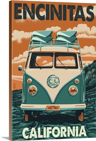 Encinitas, California - VW Van Blockprint: Retro Travel Poster Wall Art