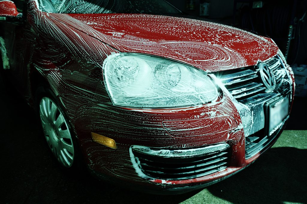 Red Jetta Car Wash Hood