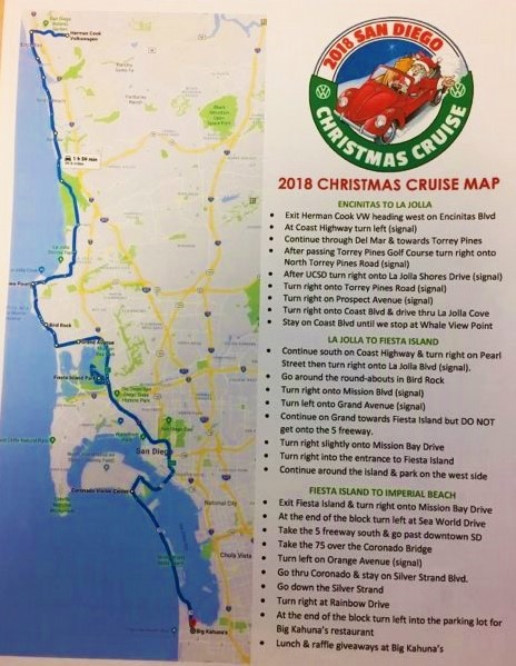 SD Vintage VW Christmas Cruise Map 2018