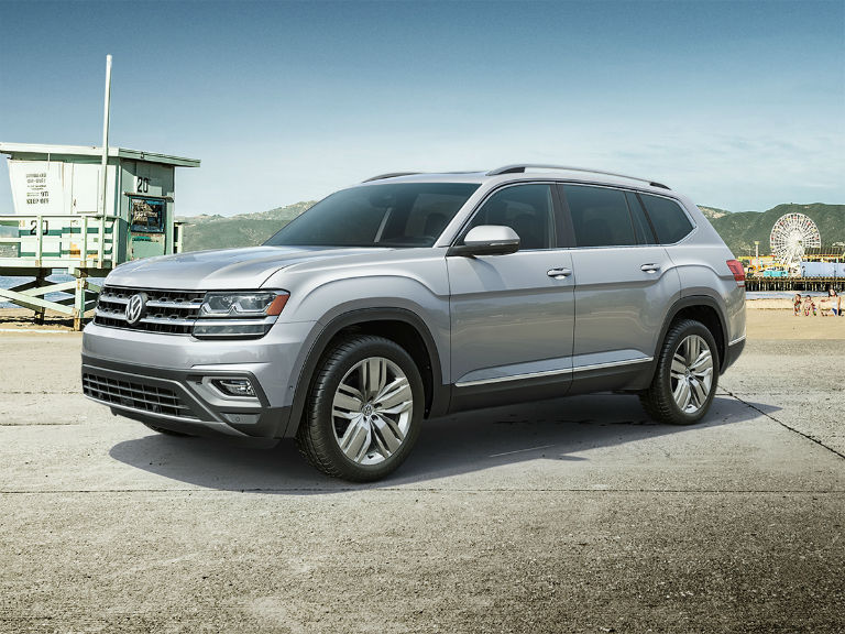 side view of a silver 2019 VW Atlas