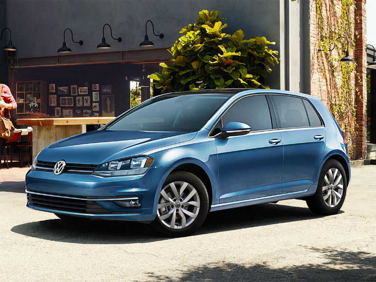 side view of a blue 2019 VW Golf