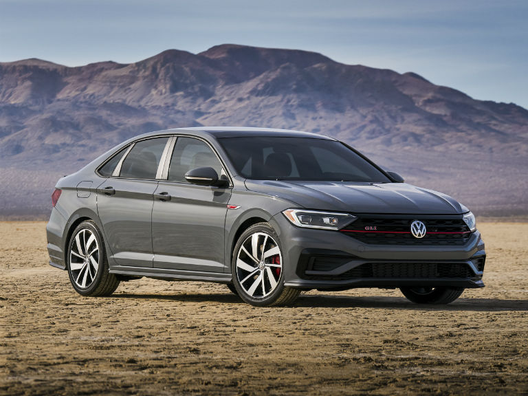 front view of a gray 2019 VW Jetta GLI