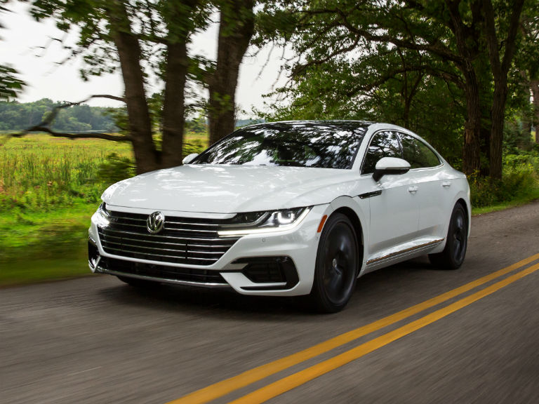 front view of a white 2019 VW Arteon