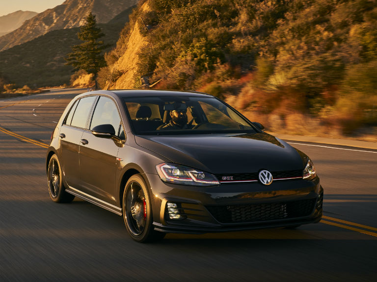 front view of a black 2019 VW Golf GTI