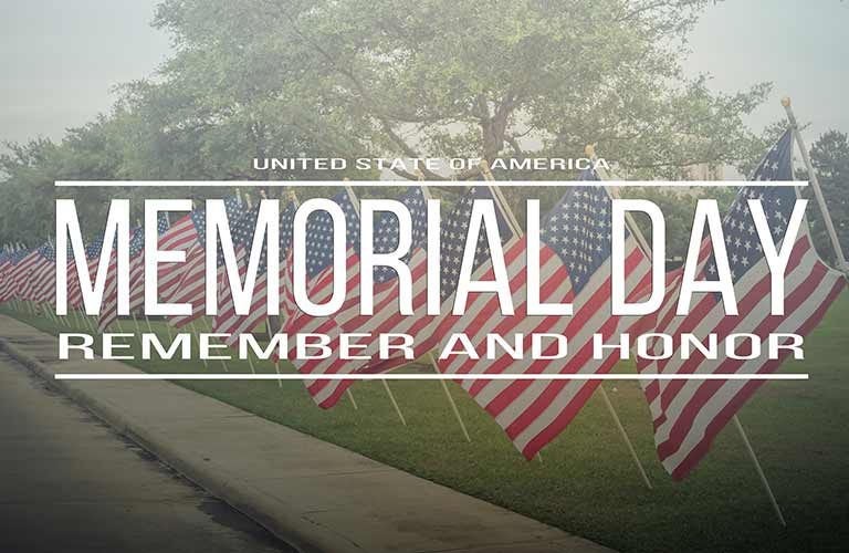 Memorial Day Remember and Honor written in white with an American flag background