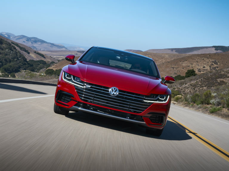 front-view-of-a-red-2019-VW-Arteon