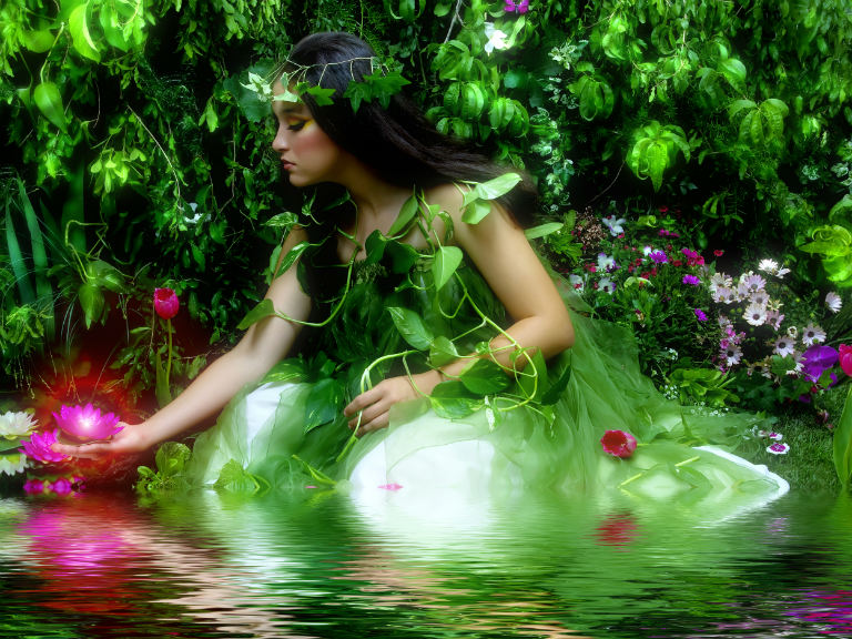 woman dressed as a green garden fairy