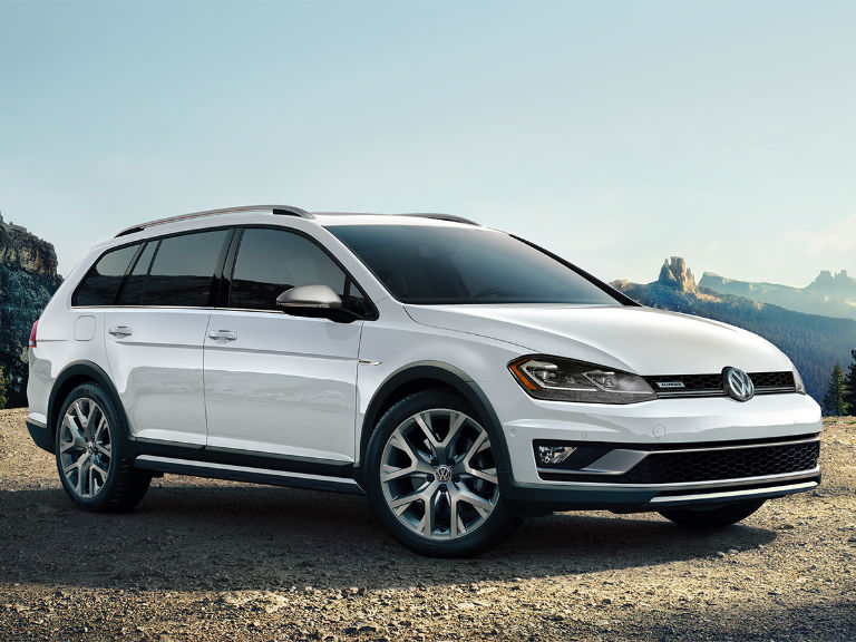 side view of a white 2019 VW Golf Alltrack