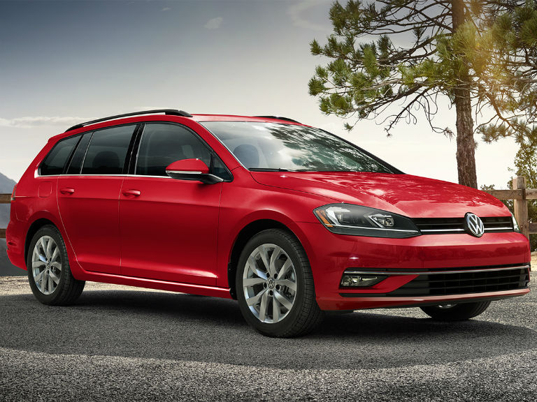 side view of a red 2019 VW Golf SportWagen