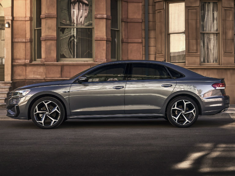 side view of a silver 2020 VW Passat