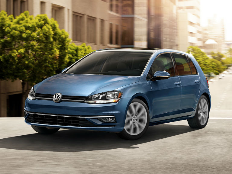 front view of a blue 2019 VW Golf