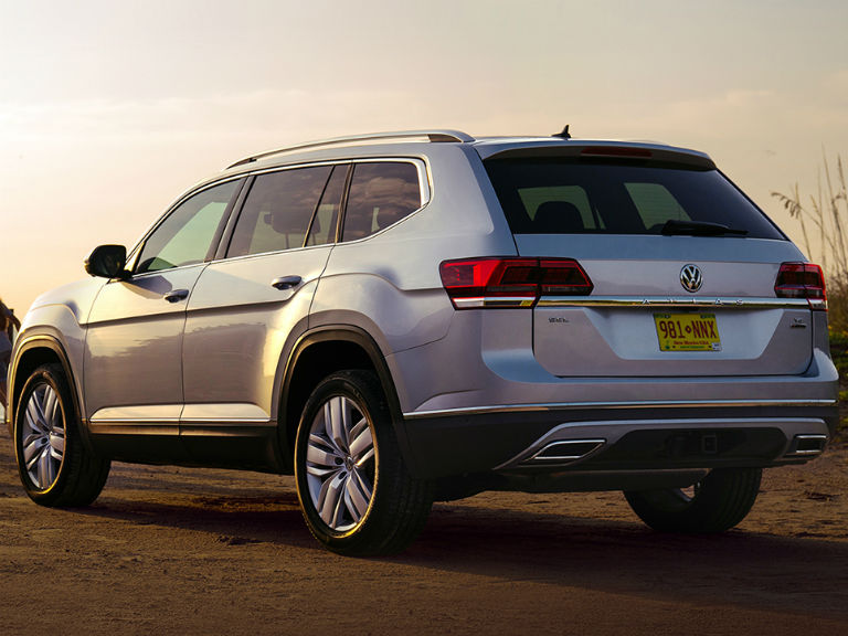 rear view of a silver 2019 VW Atlas