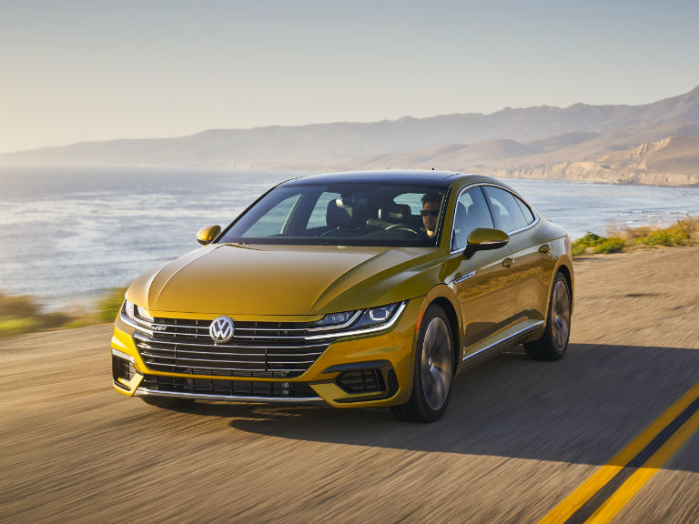 front view of a gold 2019 VW Arteon