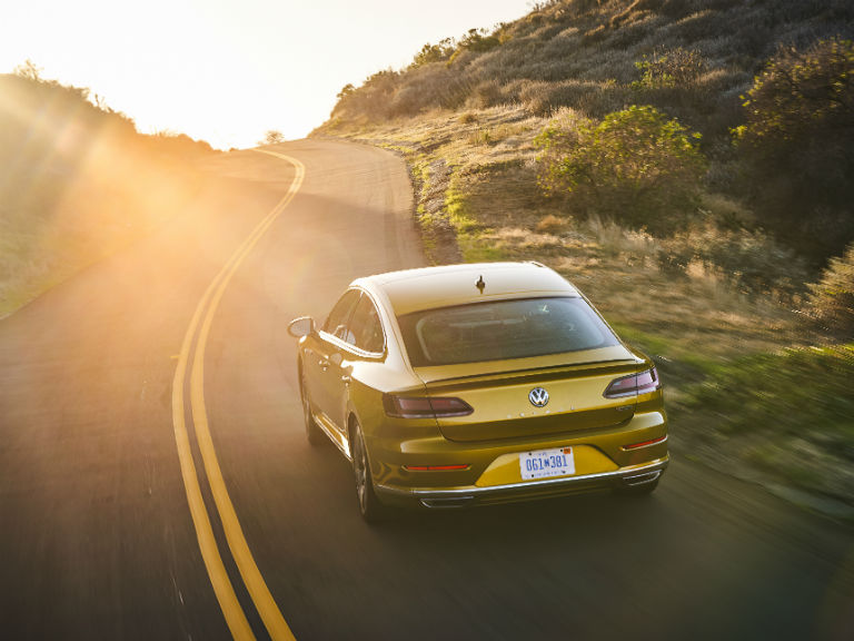 rear view of a yellow 2019 VW Arteon
