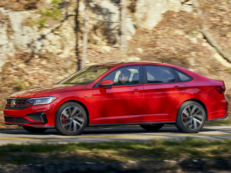 side view of a red 2020 VW Jetta GLI