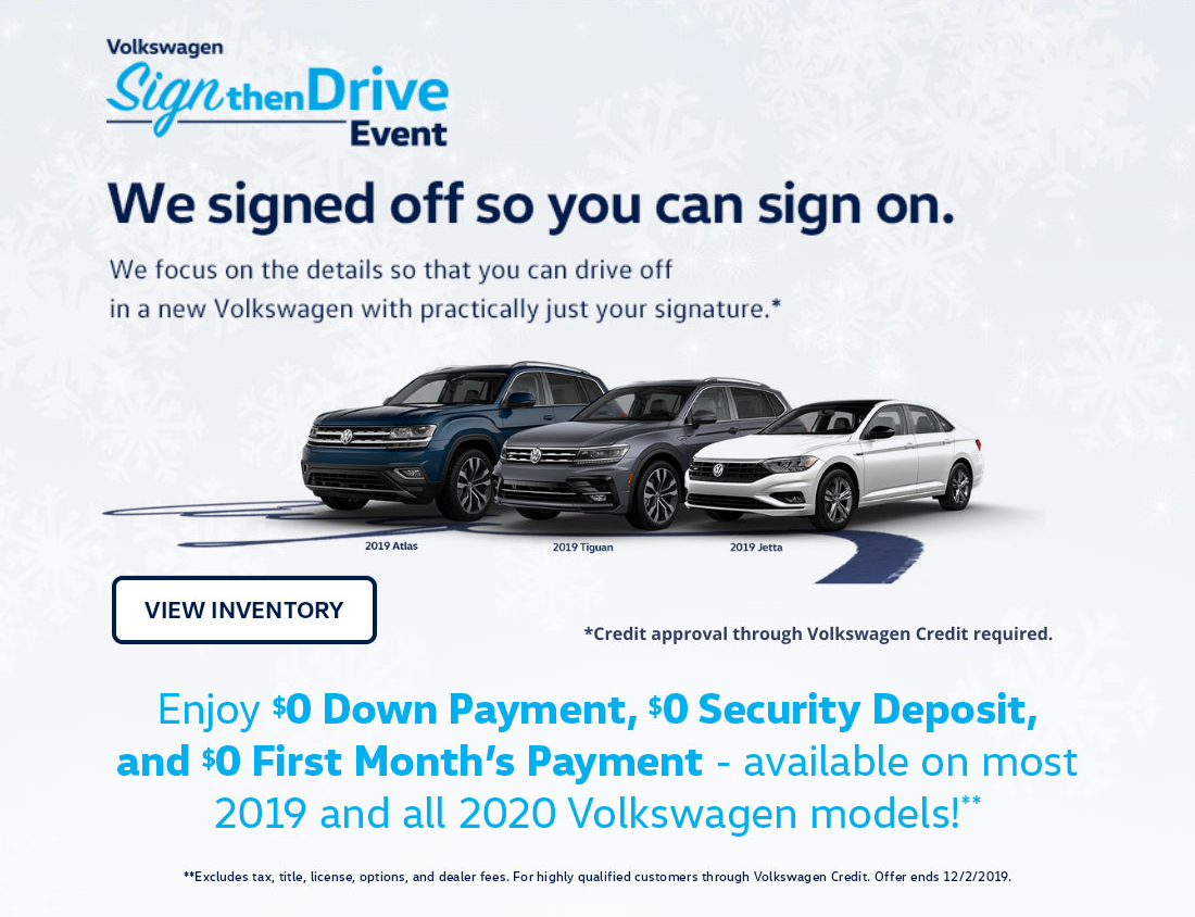 Volkswagen Sign then Drive Event Black Friday