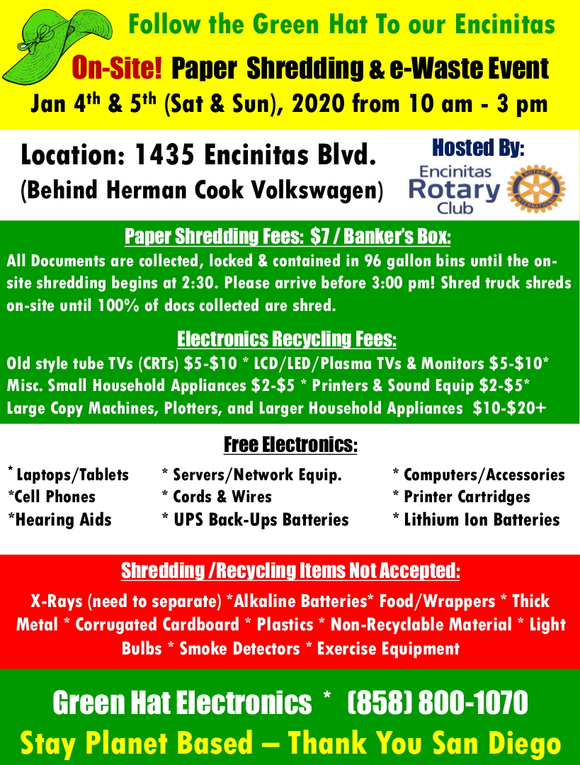 Paper Shredding and e-Waste Recycling Event at Herman Cook VW in Encinitas CA