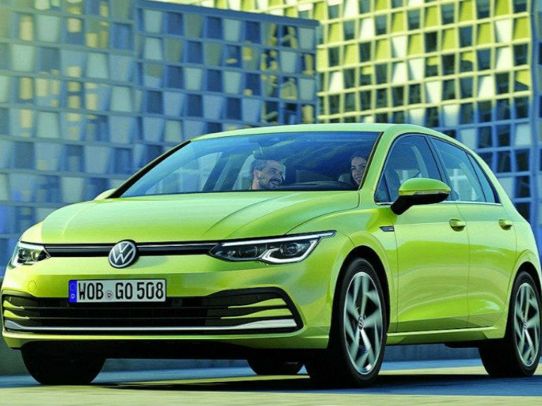 front view of a green 2020 VW Golf