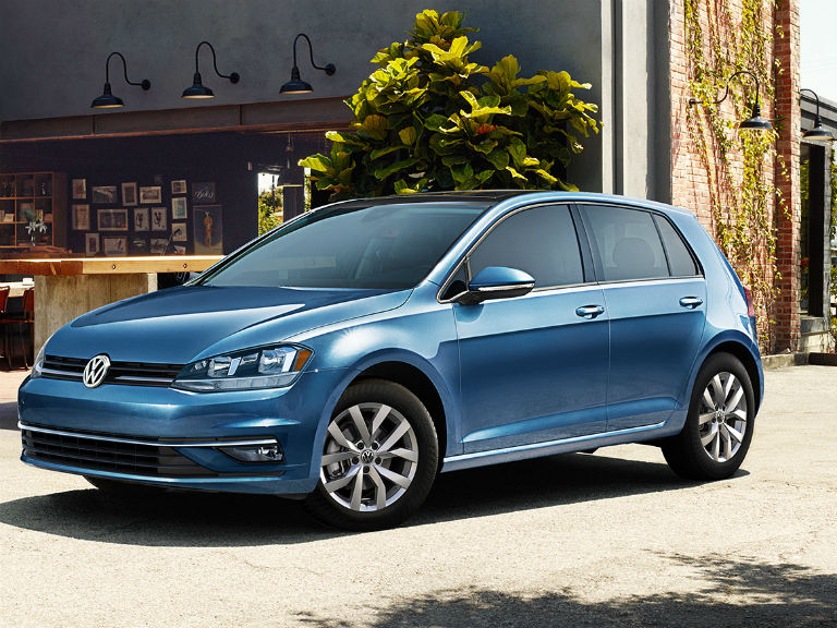 side view of a blue 2020 VW Golf