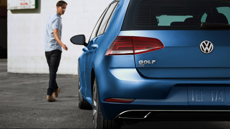 rear view of a blue 2020 VW Golf