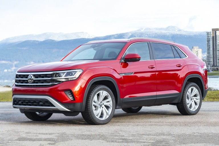 side view of a red 2020 VW Atlas