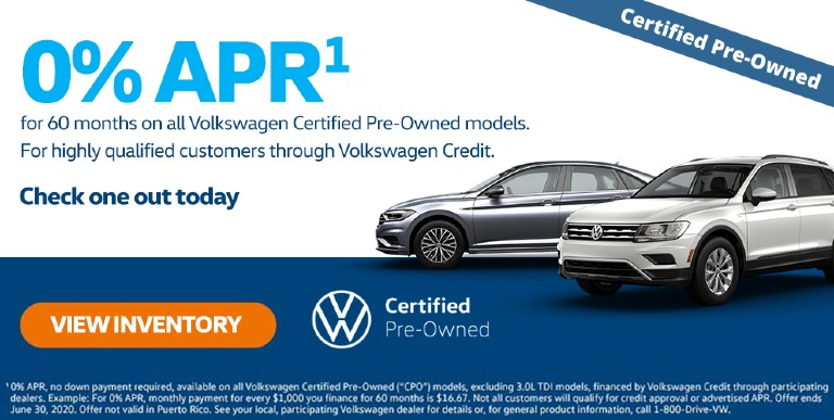 0% APR on All Volkswagen Certified Pre-Owned Models at Herman Cook VW in Encinitas CA