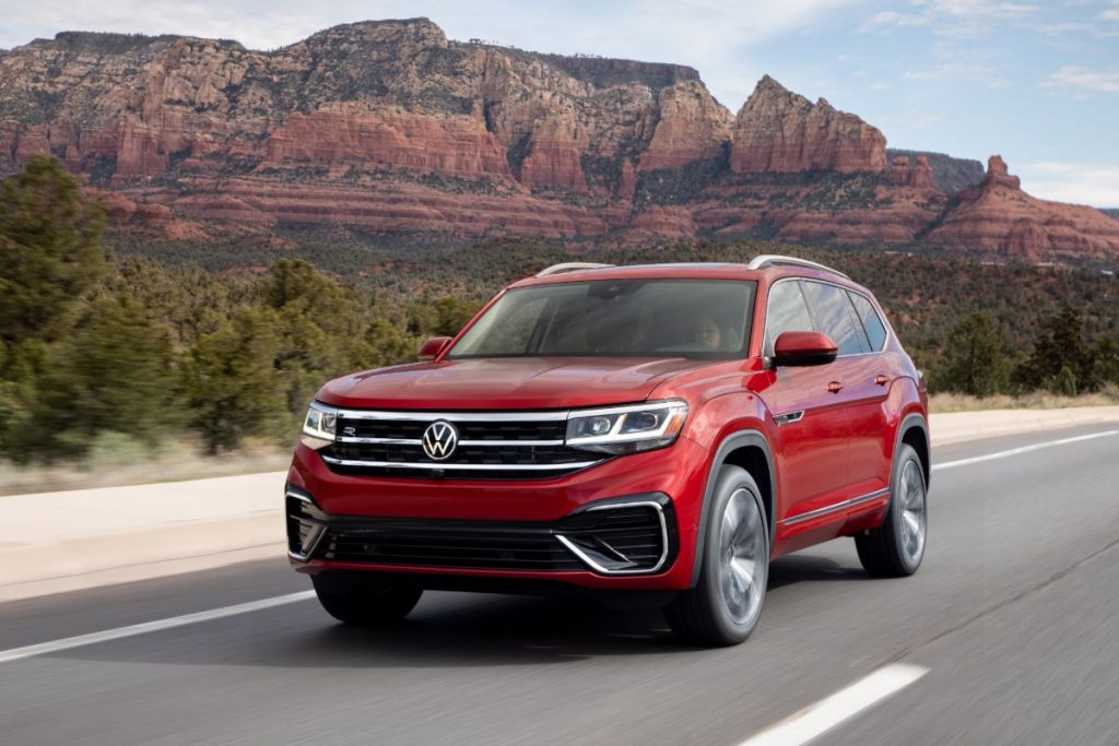 front view of a red 2021 VW Atlas