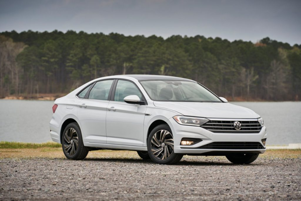 side view of a white 2020 VW Jetta
