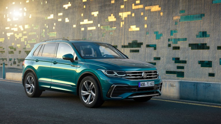 front view of a green 2022 VW Tiguan