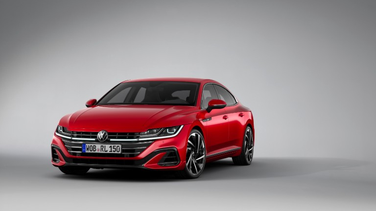 front view of a red 2021 VW Arteon