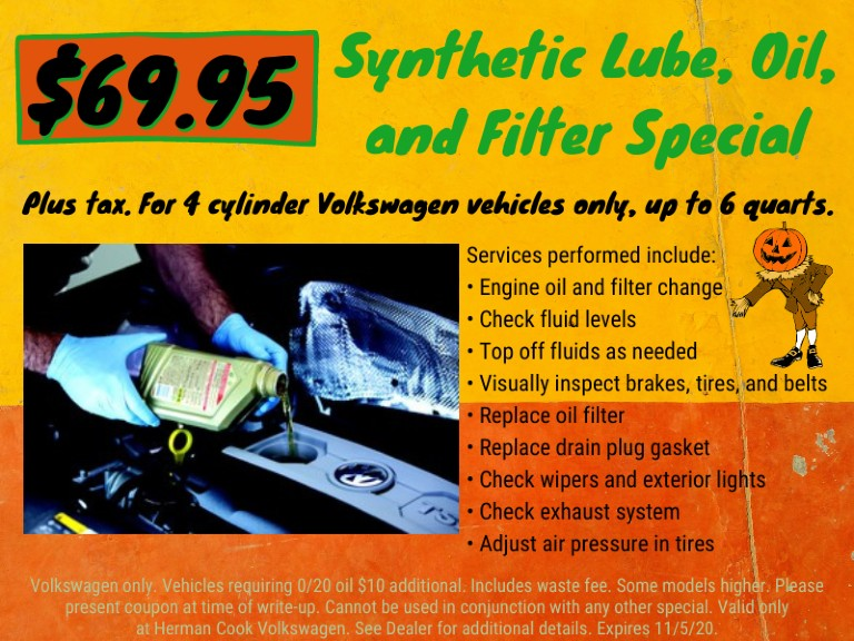 Herman Cook VW oil change infographic