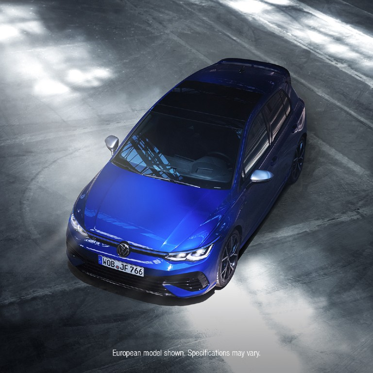 aerial view of a blue 2022 VW Golf R