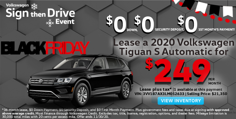 Volkswagen Sign then Drive Event Black Friday Tiguan Lease