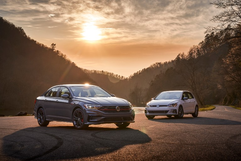 2021 VW Golf GTI and Jetta GLI next to each other