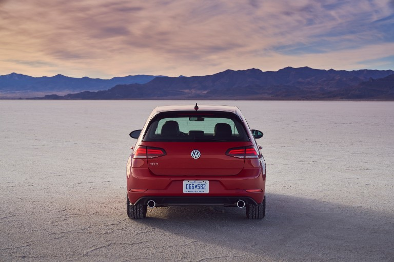 rear view of a red 2021 VW Golf GTI