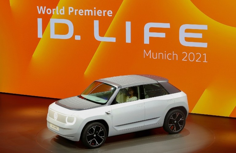 Volkswagen ID. LIFE Concept parked on a stage