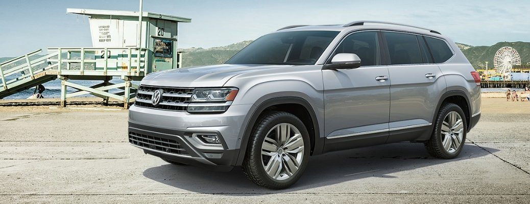 Silver 2019 Volkswagen Atlas parked on pier dock