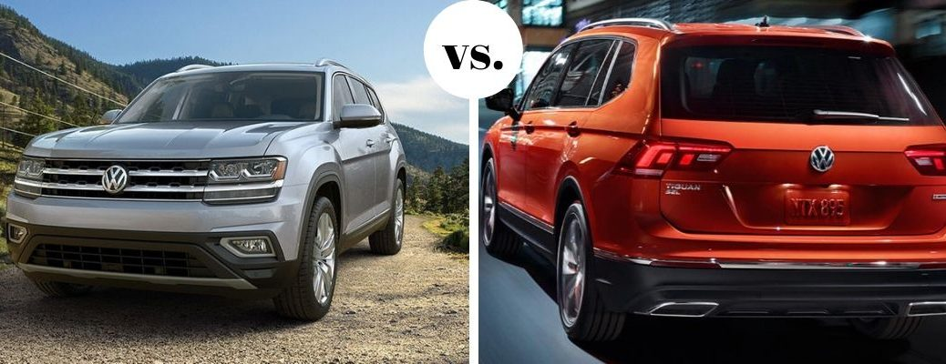 Silver VW Atlas and orange VW Tiguan in comparison image