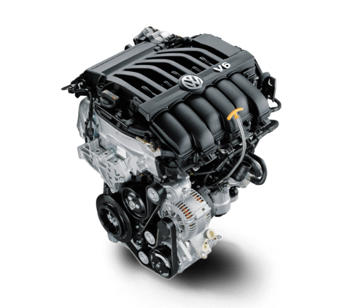 Isolated view of 2019 Volkswagen Atlas V6 engine