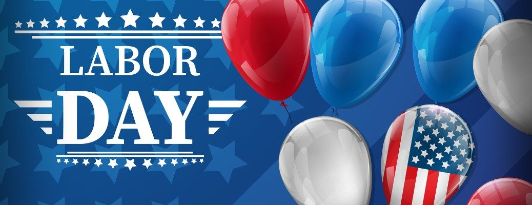 Stylized Labor Day 2019 Image with American flag balloon in frame
