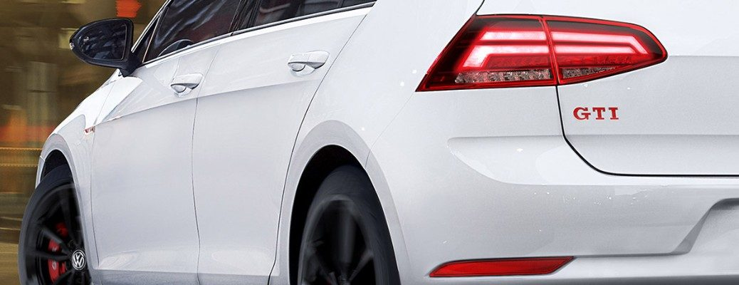 Rear shot of white 2019 Volkswagen Golf GTI