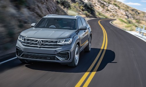 Front view of 2020 VW Atlas Cross Sport driving on mountainous road